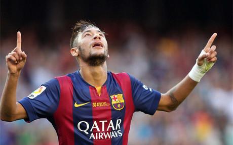 Neymar, celebrando un gol esta temporada contra el Granada