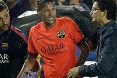 Neymar, en el momentode ser sustituido en el Levante-Bar�a