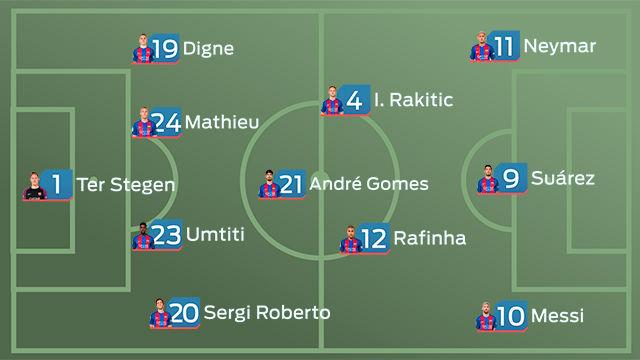 La alineación del Barça ante el Leganés