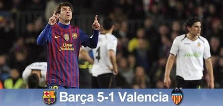 Messi le marcó cuatro goles al Valencia