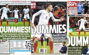 Portadas de los diarios ingleses tras el empate ante España.