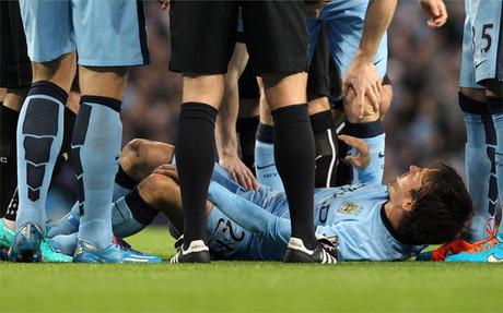 David Silva en el momento de su lesi�n frente al Newcastle