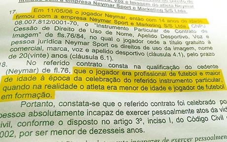 Este es el contrato de cesi�n de derechos que Neymar firm� siendo menor de edad