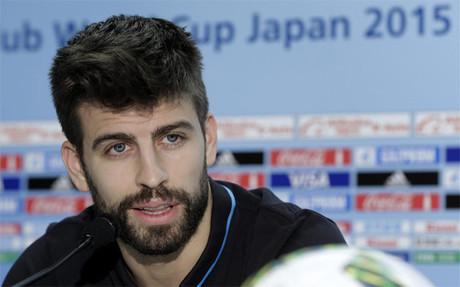 Gerard Piqu�, durante una rueda de prensa del FC Barcelona