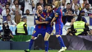 Celebración del primer gol de Messi
