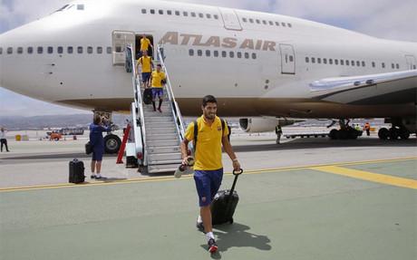 El Bar�a aterriz� en El Prat hacia las 14:40 de este mi�rcoles