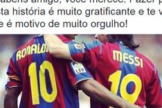 Captura del tweet de felicitaci�n de Ronaldinho a Messi