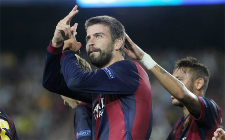 Gerard Piqu� celebra su gol ante el APOEL Nicosia