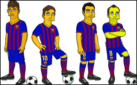 Neymar, Messi, Xavi e Iniesta en 'The Simpsons'