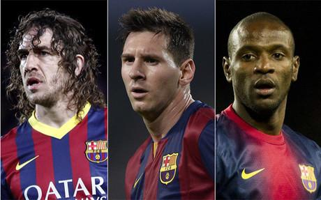 Messi, Puyol y Abidal donan prendas para ayudar a niños