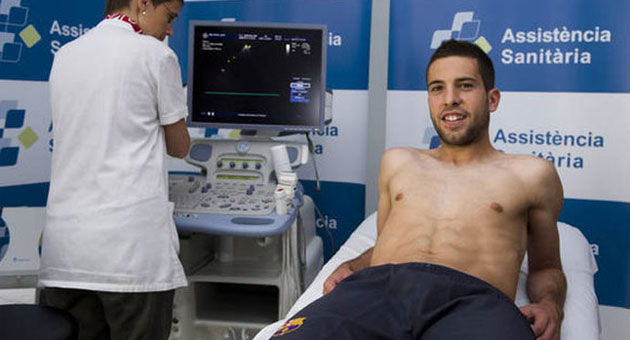 Jordi Alba pas la revisin mdica este jueves