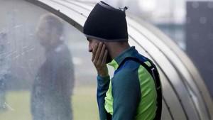 Gerard Piqué, en el entrenamiento