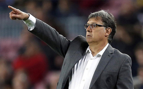 Gerardo Martino durante el Bar�a-Athletic Club de la 34� jornada (2-1)
