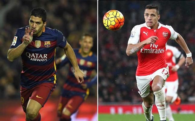 Su�rez, en el FC Barcelona, duplica los goles y asistencias de Alexis en el Arsenal