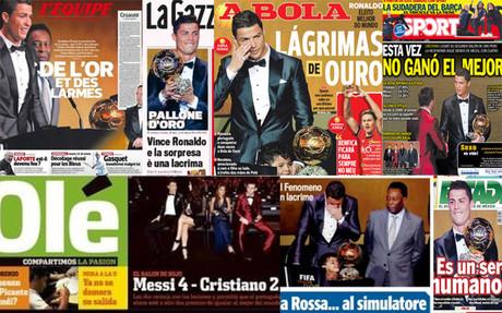 Las portadas de la prensa del Bal�n de Oro de Cristiano