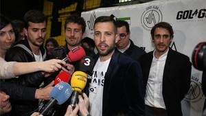 Jordi Alba habló en la presentación de su centro de tecnificación