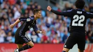 Cristiano celebra su primer gol ante el Celta