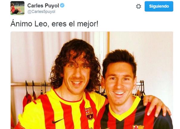 La imagen que Carles Puyol subi� a su cuenta de Twitter para animar a Leo Messi