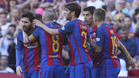 Leo Messi celebra uno de sus goles durante el Barça-Villarreal de la Liga 2016/17