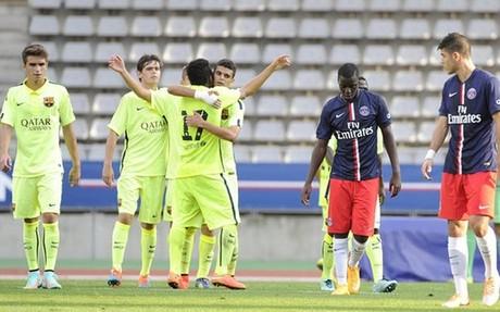 Los blaugrana celebran el gol del empate ante el PSG