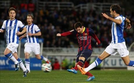 La �ltima semifinal que ha jugado el Bar�a fue contra la Real Sociedad en 2014. Ape� a los donostiarras. En la imagen, Messi en una acci�n durante el partido celebrado en Anoeta