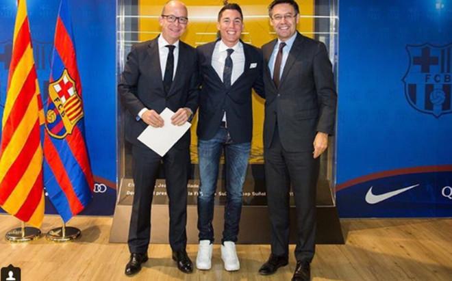 Aleix Espargar�, junto a Bartomeu y Cardoner