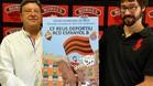 El presidente del CF Reus, Xavier Llastarri, y el artista reusense Sergi Dom�nech, en un momento de la presentaci�n de la campa�a