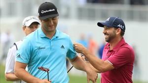 Sergio felicita a Jon Rahm después de su gran victoria sobre el castellonense