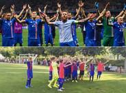 Arriba, los jugadores de Islandia en la Eurocopa. Abajo, los azulgranas en Vic