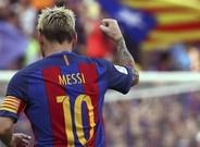 El capit�n del FC Barcelona, Leo Messi, celebrando uno de los tantos azulgrana