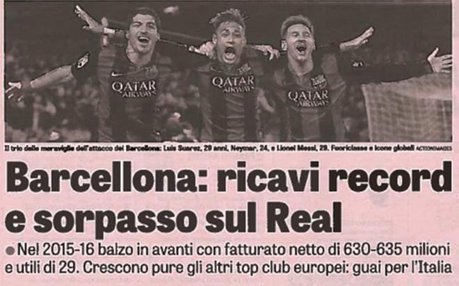 Italia destaca el 'sorpasso' económico del Barça sobre el Real Madrid