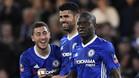 Eden Hazard, Diego Costa y N'Gono Kanté durante un partido del Chelsea en la temporda 2016/17