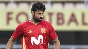Diego Costa, este mes, en un entrenamiento con la selección española