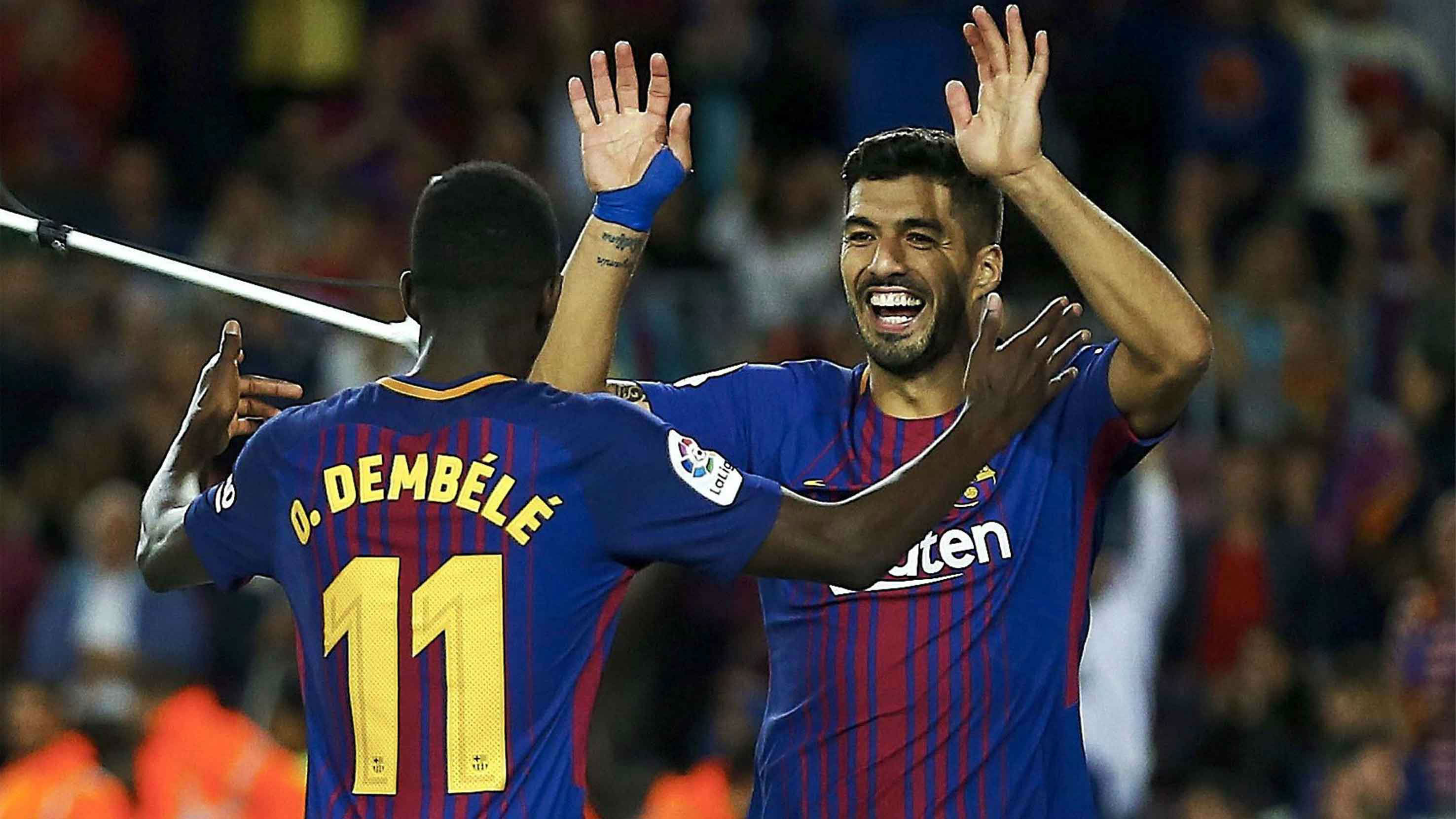 Ousmane Dembele sets up Luis Suarez for his first assist