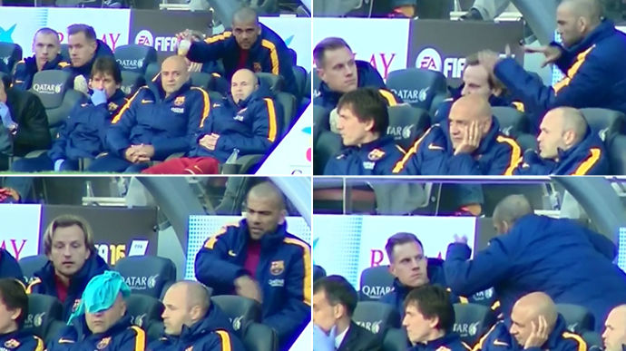 As� fue el 'show' de Dani Alves en el banquillo del FC Barcelona - Getafe