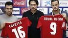 Fuentes y Oriol Riera, en su presentaci�n como nuevos jugadores de Osasuna