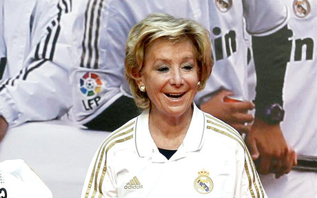 Esperanza Aguirre en la celebracin del ttulo de Liga del Real Madrid
