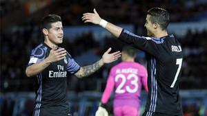 James Rodríguez le dio una asistencia de gol a Cristiano Ronaldo