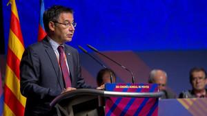 Bartomeu, durante su intervención en el 38º Congreso Mundial de Peñas del FC Barcelona