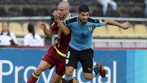 Suárez, en un momento del partido ante Venezuela