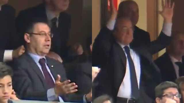 Así reaccionaron en directo Florentino y Bartomeu al escándalo arbitral de la Copa
