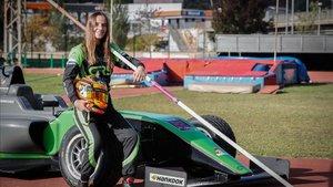 Belén García, en las pista de Granollers donde practica el atletismo
