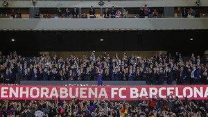 Celebraciones y entrega trofeo Final Copa del Rey Sevilla 0 - FC Barcelona 5