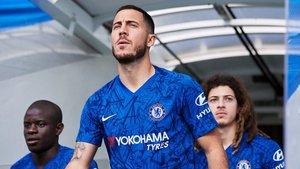Eden Hazard en la presentación de la nueva camiseta del Chelsea
