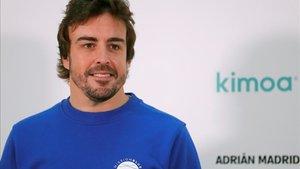 Fernando Alonso, en el acto de presentación del acuerdo