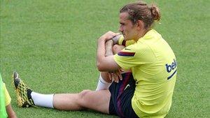Griezmann, en un reciente entrenamiento con el Barça
