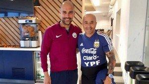 Guardiola y Sampaoli, juntos en Manchester