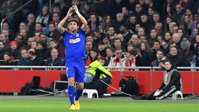 Jaime Mata anotó el primer gol del Getafe ante el Ajax