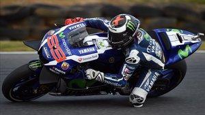 Lorenzo, en acción con la Yamaha con la que logró tres títulos