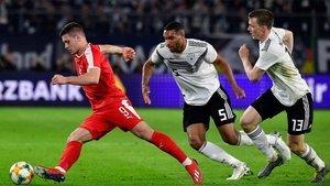Luka Jovic, en una acción del partido ante Alemania